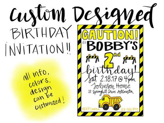 Custom Designed Construction-Themed Birthday Invitation