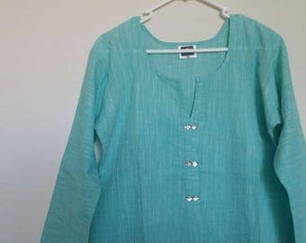 Linen tunic,Cotton tunic, summer wear, long tunic,kurta,long kurti,turquoise blue tunic