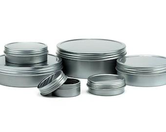 24pk Screw Top Shallow Silver Round Tins Containers, PICK YOUR SIZE 1oz 2oz 4oz 8oz 12oz 16oz