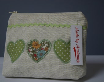 Cosmetic Bag with hearts and ribbon