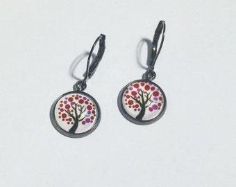 Earrings With Cabochon, White Earrings, Small Earrings, Drop Earrings, Round Earrings, Short Earrings, Clip Earrings