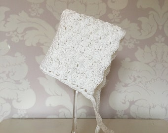 HANDMADE Newborn Crochet Christening Baptism Pixie Bonnet - COTTON - White