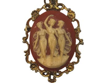 Vintage 1950's Pendant Antique Gold Metal Trio of Dancing Ladies Large Resin Cameo