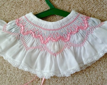 Collar Smocked with Pink Ribbon detachable girls heirloom dress collar Heirloom clothing for girls heirloom collars for girls dresses