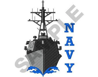 Navy Missile Destroyer - Machine Embroidery Design