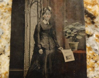 Mourning Mother:  Antique Hand Colored Tintype of Woman in Mourning Clothes and Picture of Young Girl