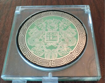 Vintage Unused Bell Lucite Mirror/Powder Compact With Dragon Design