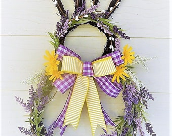 SALE - Easter Bunny Wreath, Lavender Easter Bunny, Spring Wreath Lavender with a touch of Yellow