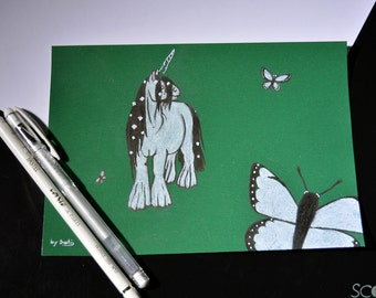 Unicorn illustration and butterflies (A5)