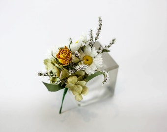 Swan Lake Buttonhole / Corsage | Wedding Flowers | White, Yellow, Pink | Dried Flowers | Handmade