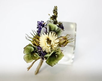 Lilac Love Buttonhole / Corsage Wedding Flowers | Lilac, Cream, Green | Dried Flowers