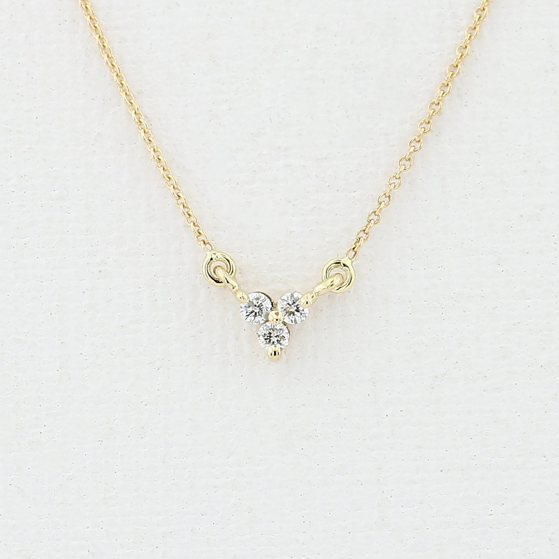 Diamond Trio Necklace/ 14K Gold Round Cut Diamond Trio Cluster Minimalist Fashion Necklace/ Three Diamond Floating Necklace