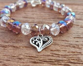 Heart Wire Bracelet, Silver Heart Charm, Bracelet, Beads, Silver Heart Clasp, Czech Beads