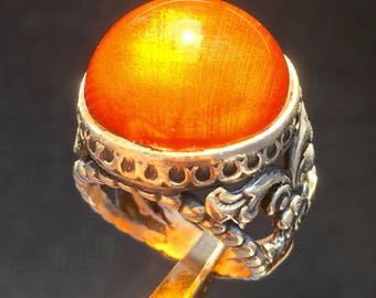 Mens Ring Sterling Silver with Fire Amber - unique piece of mens jewelry