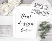 Rustic Card Mockup or Invite Mock Up on Wooden Background, Styled Photography Card Photoshop Template with Envelope