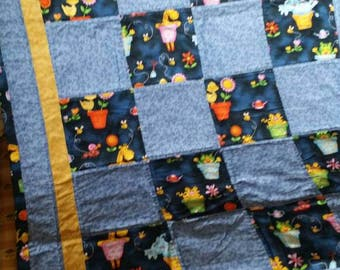 Blue with animals Toddler Quilt