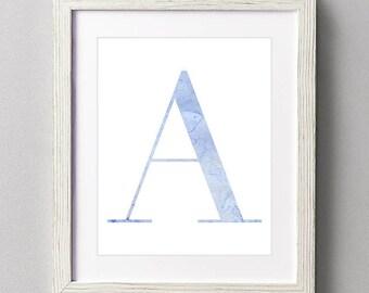 Letter A | Nursery Print | Nursery Art | Alphabet | Instant Download | Digital Print | Wall Art | Baby Boy | Initials | Blue | Watercolor