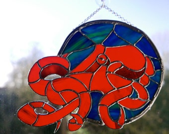 Stained Glass Octopus, Glass Art, Original Hand Crafted Design