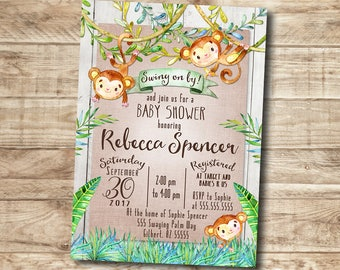 Boy Baby Shower Invitation Monkey Jungle Baby Animals Gender Neutral Rustic Barn Wood Printable I Customize For You