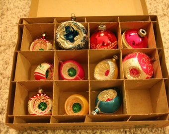 Lot of 11 vintage glass ball ornaments
