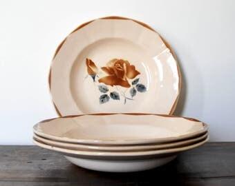 4 Digoin-Sarreguemines plates, soup vintage plates, antique ceramic plates, floral pattern