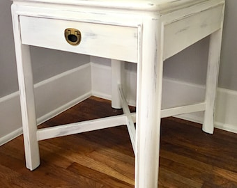 SOLD off white Nightstand. Distressed side table