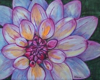 Dahlia, flowers, original watercolor painting