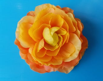 Orange Sunset Rose Ranunculus Flower Hair Clip, Pinup style, Boho style