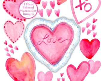 Watercolor Hearts | Watercolor Clipart | Pink Hearts | Watercolor Art | Watercolor Clipart | Baby Shower | Wedding | Brides Maid | Hearts