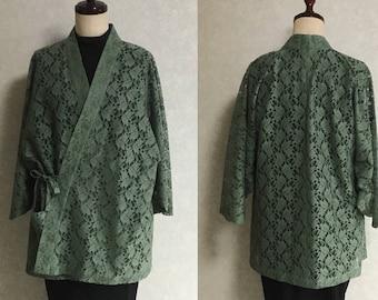 Japanese. Vintage. kimono.free shipping.haori.coat.green.033
