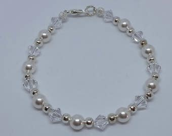 Silver plated, flower girl or bridesmaid bracelet. Swarovski pearls and crystals. Eco-friendly gift box.