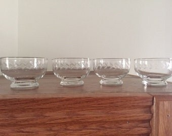 4 Tiffin Etched Glass Dessert Cups