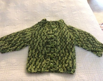 Green Camo Sweater with Buttons