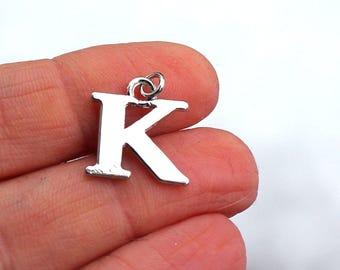 One Letter K, Alphabet Charm, K, Letter K