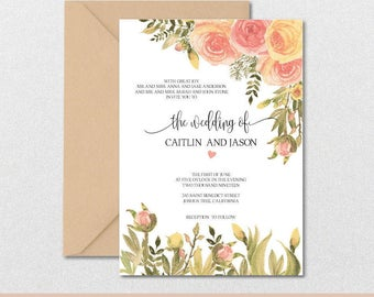 Floral Wedding Invitation Template-Watercolor Rose Gold Flowers Vintage Peonies Invite-DIY Invitations-PDF-Download Instantly | VRD147AWR