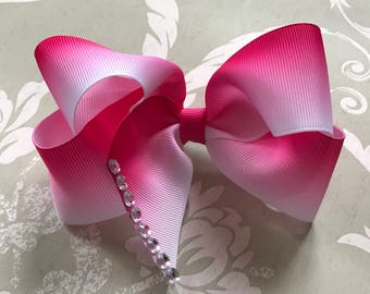 Ombré pink twisted boutique bow. Big dance mom bows