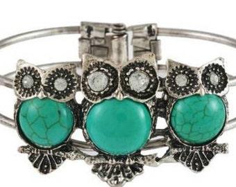 Green owl sterling silver bracelet
