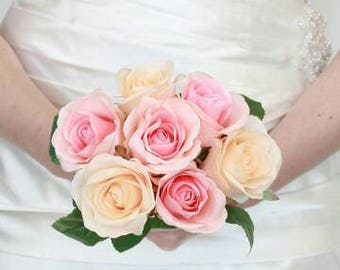 Bridal rose bouquet, pink and ivory roses great for bride or bridesmaids bouquet
