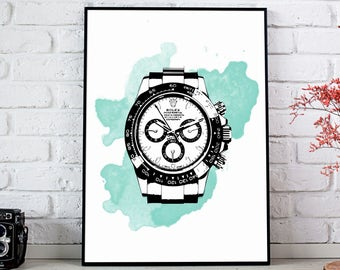 ROLEX Daytona Luxury Watch - Modern Wall Art Print Poster - Timekeeping, Boutique, Tag, Watches, Breitling  - A4 / A3 / Digital - Printable