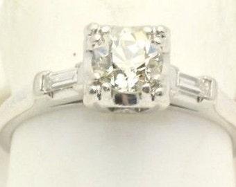 Diamond .60 Carat Old European Cut Engagement Ring Platinum Art Deco
