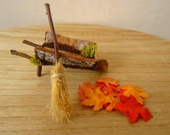 Miniature Wheelbarrow and Broom, Handmade fairy tools