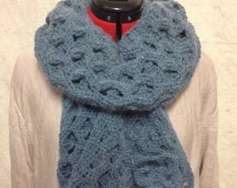 Blue/Grey Box Weave Scarf