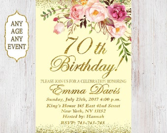 70th Birthday Invitation, Any Age Women Birthday Invitation, Floral Caramel Women Birthday Invitation 40th, 50th, 80th, 60th. 129