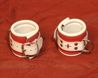 Padded handcuffs, 70 mm wide, Red Cross, red and white