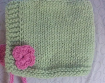 Baby Bonnet with Flower Ties