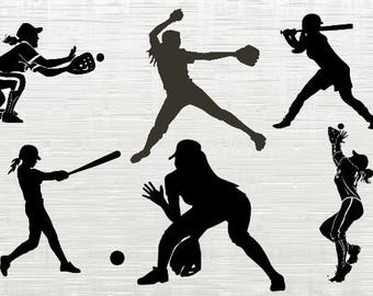 Softball girls svg  bundle, Softballclipart, svg files for silhouette, cricut download, svg files, dxf, png, cut files, vector