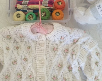 hand made baby girls cotton white hand embroidered sweater