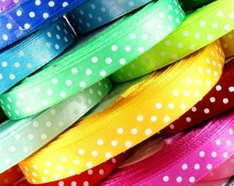 "Polka Dot Satin Ribbon/ 1/4"" or 6mm/  1/2'' or 12mm/ 1 Meters Ribbon"