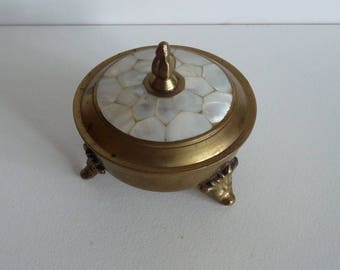Mother of pearl vintage brass trinket pot