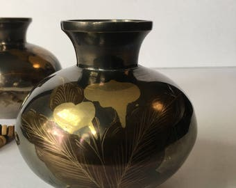 Vintage Mini Solid Brass Vases with etched Calla Lily Arrangement Black Pearl Coloration